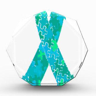 Teal Green Blue Jigsaw Puzzle Pattern Ribbon Award