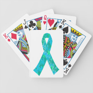 Teal Green Blue Jigsaw Puzzle Pattern Ribbon Bicycle Playing Cards