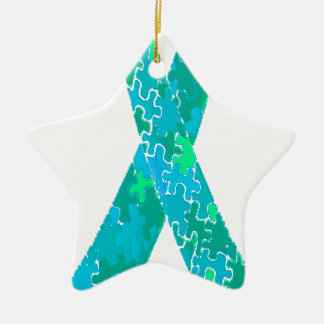 Teal Green Blue Jigsaw Puzzle Pattern Ribbon Ceramic Ornament