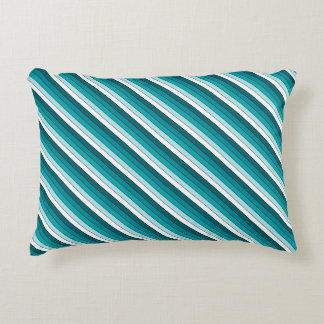 Teal Green Blue White Stripes Accent Pillow