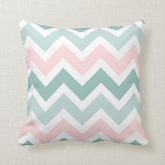 Teal Green Blush Pink Chevron Zigzag Pattern Throw Pillow