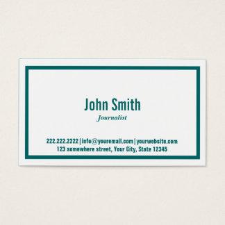 Teal Green Border Journalist Business Card