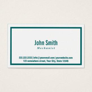Teal Green Border Mechanic Business Card