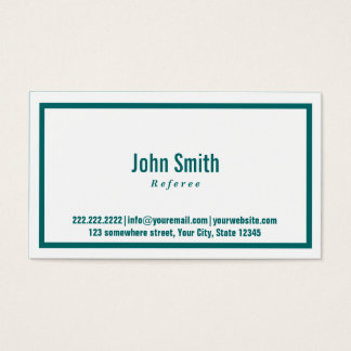 Teal Green Border Referee Business Card