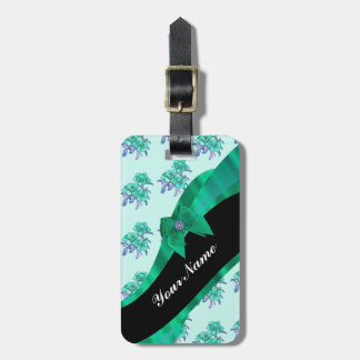 Teal green bow and vintage floral bag tag