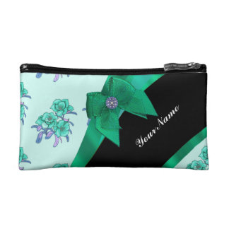Teal green bow and vintage floral cosmetic bag