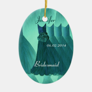 TEAL GREEN Bridesmaid Thank You Wedding Ceramic Ornament