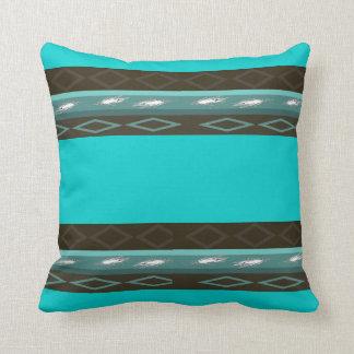 Teal Green, Brown & Blue Pillow