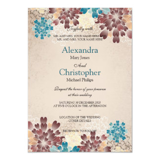 Teal Green, Brown & Ivory Flowers Retro Wedding S3 Card