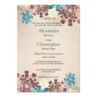 Teal Green, Brown & Ivory Flowers Retro Wedding S4 5x7 Paper Invitation Card