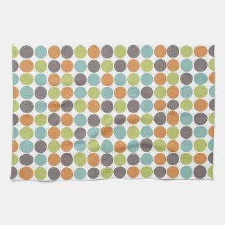 Teal Green Burnt Orange Taupe Brown Polka Dots Towel