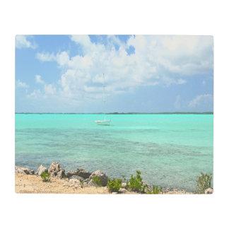 TEAL GREEN CARIBBEAN WATER BENEATH BLUE SKY METAL PRINT