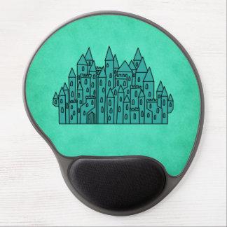 Teal Green Castle Gel Mousepads