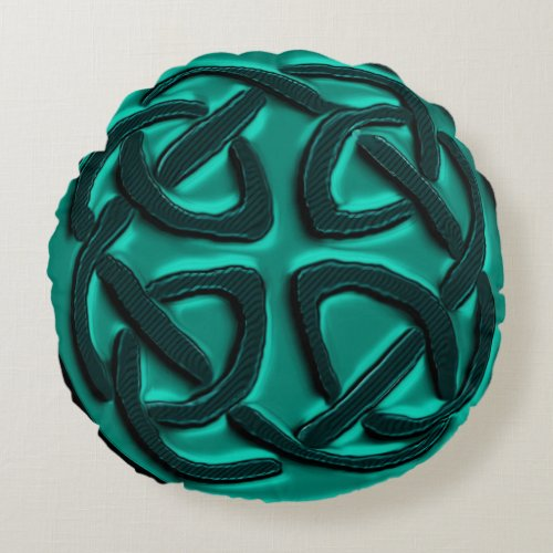 Teal Green Celtic Knot Pillow