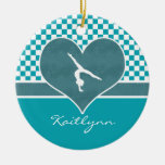 Teal Green Checkered Gymnastics with Monogram Double-Sided Ceramic Round Christmas Ornament