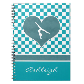 Teal Green Checkered Gymnastics with Monogram Spiral Notebook