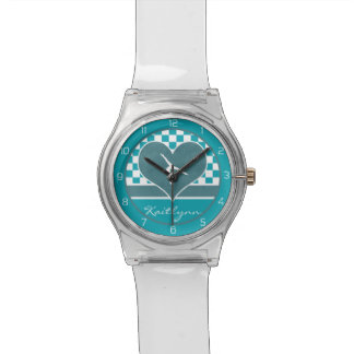 Teal Green Checkered Gymnastics with Monogram Wrist Watch