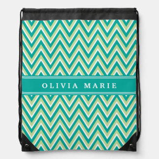 Teal Green Chevron Pattern with Name Drawstring Bag