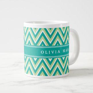 Teal Green Chevron Pattern with Name Giant Coffee Mug
