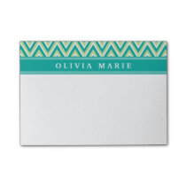 Teal Green Chevron Pattern with Name Post-it Notes
