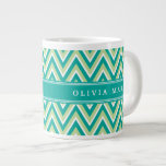 Teal Green Chevron Pattern with Name 20 Oz Large Ceramic Coffee Mug
