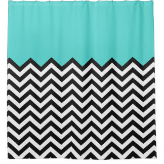 Teal Green Chevron Stylish Zigzag Pattern Shower Curtain