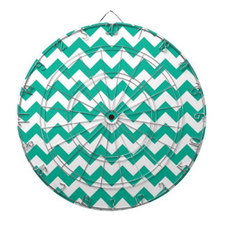 Teal Green Chevrons Dartboard With Darts