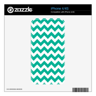 Teal Green Chevrons Skin For iPhone 4