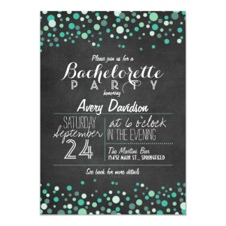 Teal Green Confetti Chalkboard Bachelorette Party Card