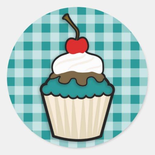 Teal Green Cupcake Sticker
