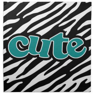 Teal Green cute zebra stripes Napkin