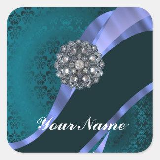 Teal green damask & ribbon square sticker