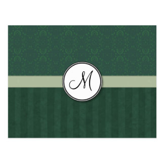 Teal Green Damask with Stripes and Monogram Postcard