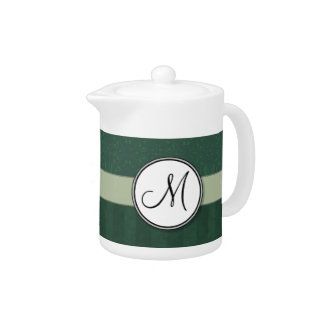 Teal Green Damask with Stripes and Monogram