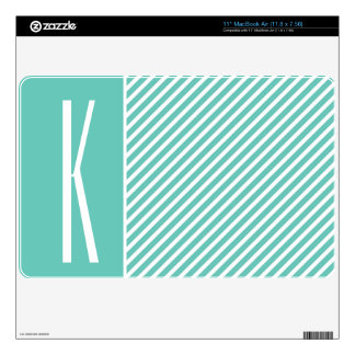 Teal Green Diagonal Stripes Decal For The MacBook Air
