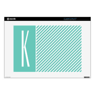 Teal Green Diagonal Stripes Decals For Laptops