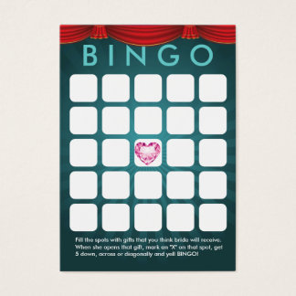 Teal Green Diamond Heart Bridal Shower Bingo Card