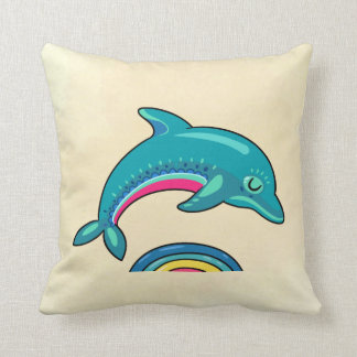 Teal Green Dolphin Jumping Over Stylish Water Throw Pillow