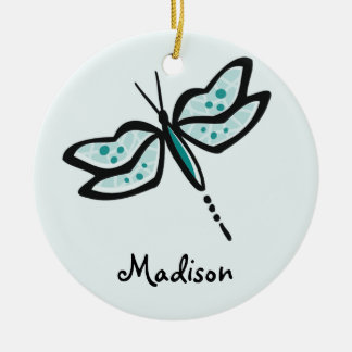 Teal Green Dragonfly Ceramic Ornament