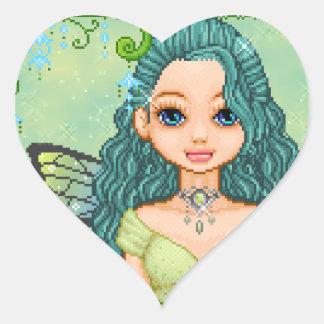Teal & Green Faery Pixel Art Heart Sticker