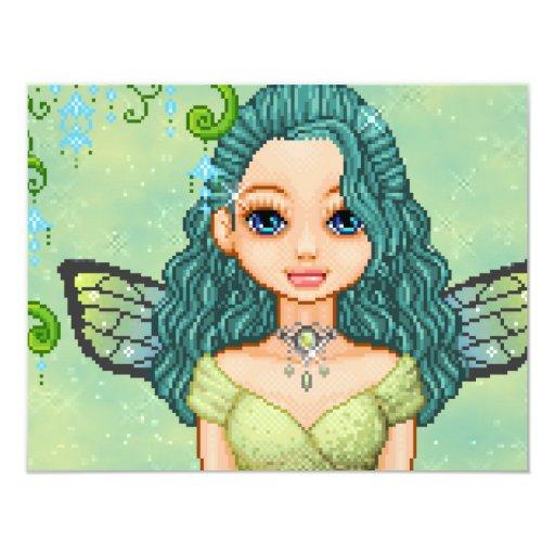 """Teal & Green Faery Pixel Art 4.25"""" X 5.5"""" Invitation Card"""