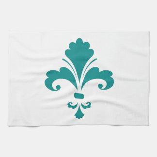 Teal Green Fleur de lis Hand Towels