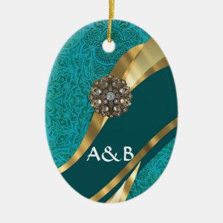 Teal green floral damask ceramic ornament
