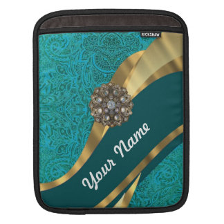 Teal green floral damask iPad sleeve