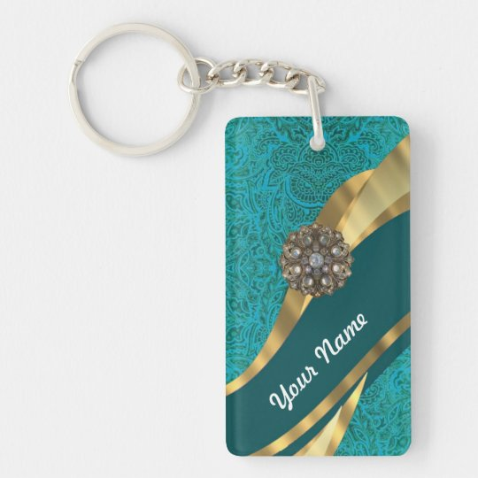 Teal green floral damask keychain