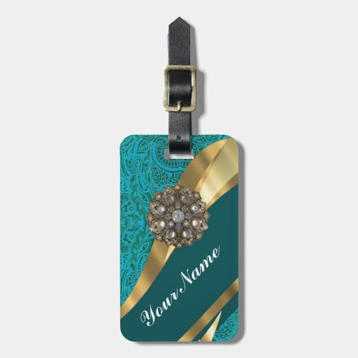 Teal green floral damask tags for luggage