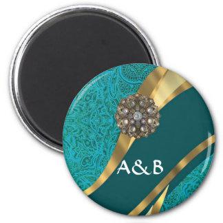 Teal green floral damask magnet
