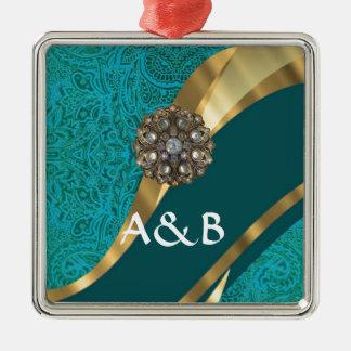 Teal green floral damask metal ornament