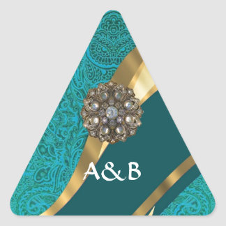 Teal green floral damask triangle sticker