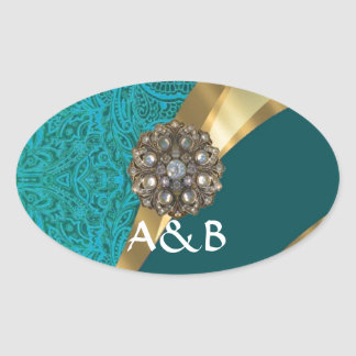 Teal green floral damask oval sticker